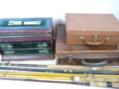 FISHING INTEREST - rods by Beechcroft, Craddock, ETC. Also, gentlemen's suitcases and a vintage