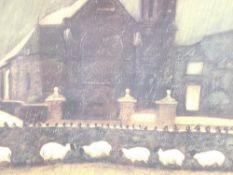 WILL ROWLANDS coloured limited edition print (5/200) - rainy day with church, titled 'Cysgodi yn