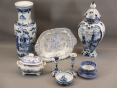 BLUE POTTERY - late 19th to early 20th century blue & white baluster vase with narrowed neck