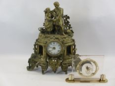 FRENCH STYLE CAST BRASS MANTEL CLOCK - the enamel dial marked 'Imperial' and an Art Deco style