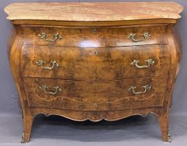 LOUIS XV STYLE MARBLE TOPPED BOMBE COMMODE/CHEST - three drawer with marquetry and boxwood inlay and