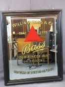 ORIGINAL PUB ADVERTISING MIRROR for Bass Finest Ale, excellent condition save very light ghosting,
