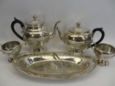 WILLIAM ROGERS 4 PIECE TEA SERVICE, SANDWICH TRAY along with a pair of '800' stamped sugar tongs,