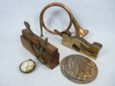ANTIQUE TOOLS - brass and wooden block plane marked 'J Howarth, Sheffield', 29cms L, another block