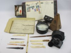 MIXED COLLECTABLES GROUP to include an 1851 dated marriage settlement on vellum, Victorian
