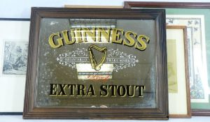 VINTAGE STYLE GUINNESS STOUT ADVERTISING MIRROR, small mixed quantity of paintings and prints with a