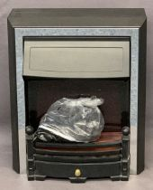 MODERN COAL EFFECT ELECTRIC FIRE in black and chrome, 62.5cms H, 52.5cms W, 30cms D maximum E/T