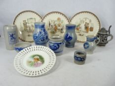 SARREGUEMINES FABLES STORY PLATES, German stoneware vessels and a Victorian ribbon plate