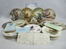 WEDGWOOD, ROYAL ALBERT bird decorated collector's wall plates with certificates (no boxes) with a