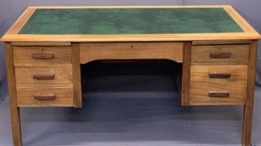 MID-CENTURY TEAK OFFICE DESK - with inset green leather top, central frieze drawer, twin pull-out