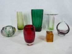 STYLISH & ART FORM GLASSWARE - 7 pieces in various styles and colours, one with etched detail