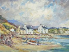 DORIS E CRICHTON oil on board - near Morfa Nevin with beached boats and figures, signed in full,