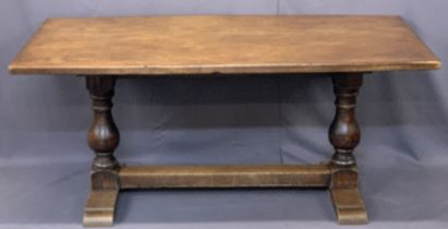 OAK TRESTLE REFECTORY TABLE with substantial baluster supports and pegged joints, 73cms H, 166cms W,