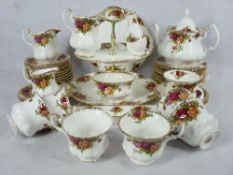 ROYAL ALBERT OLD COUNTRY ROSES TEAWARE, 40 PLUS PIECES including teapot and cover