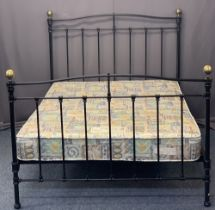 REPRODUCTION BRASS & IRON 4FT 6IN BEDSTEAD WITH MATTRESS - 130cms max H, 143cms W, 197cms L