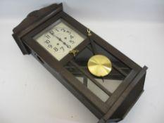 VINTAGE OAK CASED WALL CLOCK - 74cms L