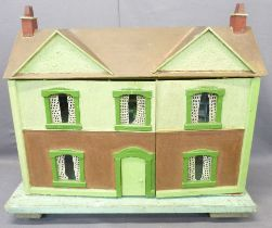 SCRATCH BUILT WOODEN DOLL'S HOUSE - on a four wheeled trolley base, early 20th century having