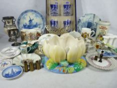 MIXED GROUP OF CHINA & GLASSWARE to include Royal Doulton crystal tumblers, Clarice Cliff Lotus