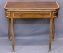 FOLDOVER CARD TABLE, quality reproduction crossbanded mahogany, with single frieze drawer, with line