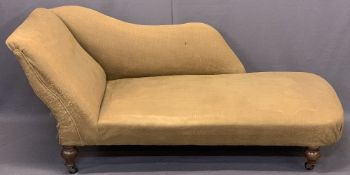 CIRCA 1900 CHAISE LOUNGE - on turned supports and castors, 68cms H, 155cms L, 67cms D