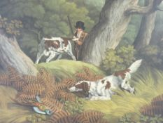 UNFRAMED COLOURED HUNTING PRINTS (7) - originally published 1801 with French and English titles, all