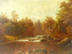 WILLIAM MELLOR oil on canvas - river scene with fishermen, title verso 'Langdale Beck,