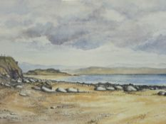 CHRIS FINLOW fine watercolour - beach and coastal scene with fence on cliff and hills to background,