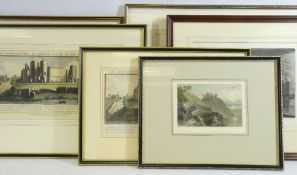 WELSH CASTLES framed early prints (6) to include Samuel & Nathaniel Buck 1742 tinted line engravings