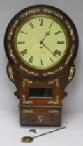 SINGLE FUSEE DROP DIAL ANTIQUE WALL CLOCK BY A N FRENCH, NEWCASTLE - Rosewood cased with mother of