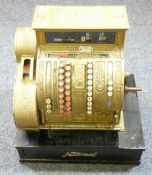 VINTAGE NATIONAL CASH REGISTER in decorative brass, on a wooden base, no. 422 and 1266955, the