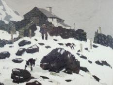 SIR KYFFIN WILLIAMS RA coloured print - farmer and dogs in snow, 37 x 37cms