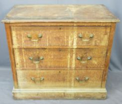 VICTORIAN MAHOGANY CHEST OF THREE LONG DRAWERS - pine lined with brass pommels and swan neck handles