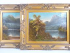 W COLLINS oils on board - river scenes with boats, 33 x 44cms