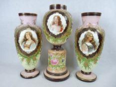 VICTORIAN MILK GLASS GARNITURE SET OF THREE VASES including a central globular vase on pedestal