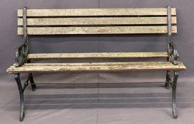 CAST IRON & WOODEN SLATTED GARDEN BENCH - 67cms H, 122cms L, 50cms D