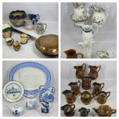 ROYAL DOULTON CHARACTER JUGS, Doulton Lambeth planter, Victorian and later jugs and a long handled