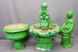 ORNAMENTAL GARDEN STATUARY & PLANTERS (3) - reconstituted stone to include a shell form birdbath