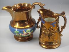A VERY LARGE COPPER LUSTRE JUG - with blue band and raised figural and animal decoration, 18cms H (