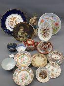 MIXED CHINA, A PARCEL including Kutani coffeeware, seated figurine and sundry plates