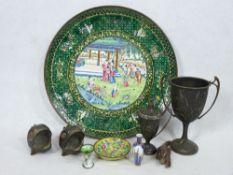 CLOISONNE & ENAMEL CHARGER - 33cms diameter, a pair of metallic fish ornaments, silver trophies, 8.9