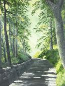 P MEYRICK oil on board - tree lined lane with sun shafts, signed and dated 1973, 72 x 57cms