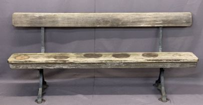 VINTAGE CAST IRON & WOODEN STATION PLATFORM STYLE BENCH by T Larmuth & Co, Salford - 79.5cms H,