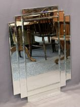 ART DECO STYLE WALL MIRROR - in multi-section bevelled glass, 77cms H, 102cms W