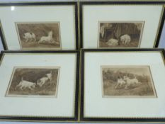 STANLEY BERKLEY prints - series of four Victorian dog prints, titled 'The Blue Bag', 'A Hunting We