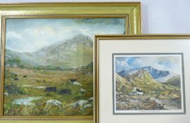 GWYNETH TOMOS oil on canvas along with a framed limited edition print, the oil depicting cattle