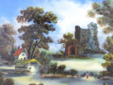 VICTORIAN REVERSE OIL PAINTING ON GLASS - an Abbey ruin with cottages to the foreground and lone