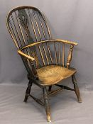 19TH CENTURY ELM HIGH HOOP STICK BACK ARMCHAIR - with shaped seat on turned supports, 97cms H, 58cms