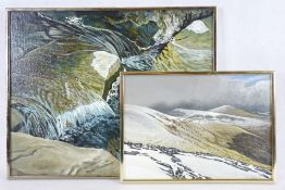 ALEX CAMPBELL mixed media on canvas board (2) titled verso 'Dynamics in small river near Nant
