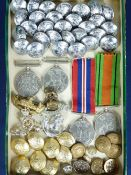 UNMARKED WWII MEDALS, cap badges and mixed buttons including a quantity of silver coloured marked '