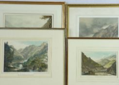 UNSIGNED WATERCOLOUR and three antique tinted prints of Point Aberglaslyn North Wales, the